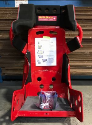 Red ButlerBuilt Sprint Advantage Slidejob seat with Box Wrap / Double head tube.